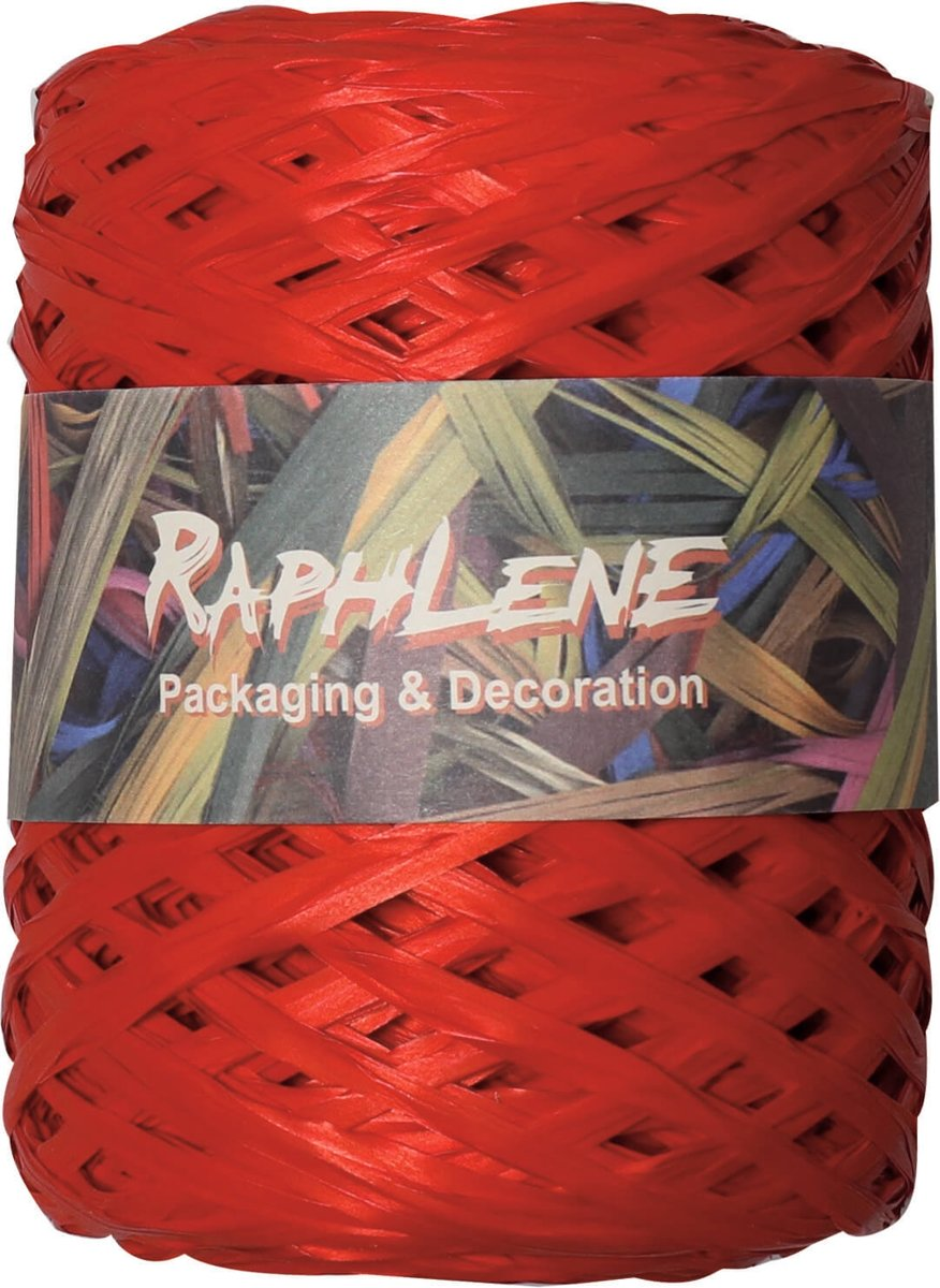 Raffia Synthetic Red Roll of 200 meters (1 roll) [HV-RAFRE]